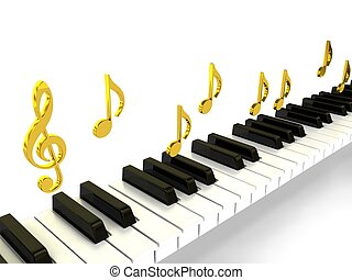 Piano over background. 3d rendered image