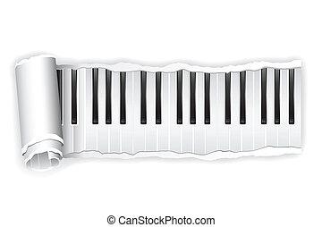 piano, papel, tecla