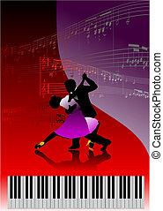 piano, par, imprimindo, dançar, música
