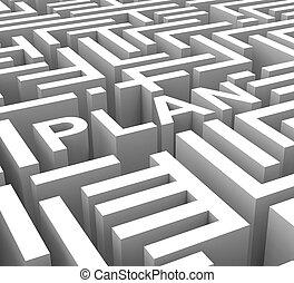 piano, parola, mostra, contorno, o, affari, pianificazione