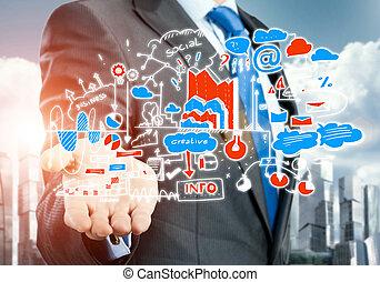 piano, per, affari elettronici