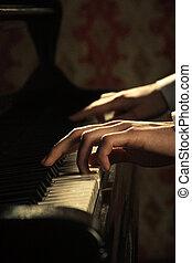 piano, pianista, música, tocando, mãos