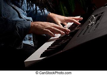 piano, pianista, macho, se realiza, teclado