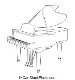piano black outline illustration on white background