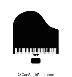 piano, pretas, cadeira, ilustração