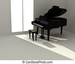 piano preto, em, quarto branco