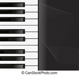 piano preto, fundo, teclado