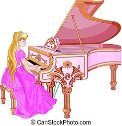 piano, princesse, jouer