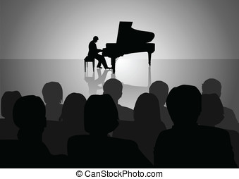 Piano Recital - Silhouette illustration of people watching a...