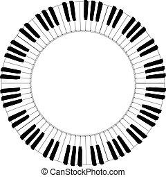 piano, redondo, teclado