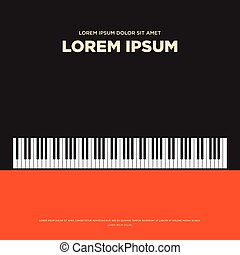 Piano retro vintage poster, book cover background flat design