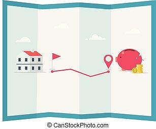 piano, risparmi soldi, piggy, goal., illustration., perno, monete, vettore, banca, casa
