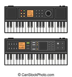 Piano Roll Digital Synthesizer. Midi Keyboard Set on White Background. Vector