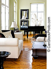 Piano room angle - Classic style living room interior with ...
