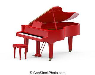 piano, rouges, grandiose