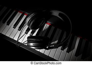 piano, słuchawki, klawiatura