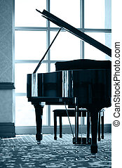 piano, silhouette, grandiose