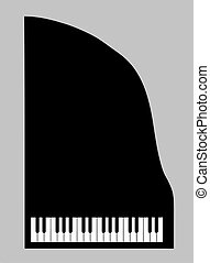 piano silhouette on gray background, vector illustration