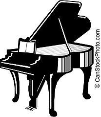 piano, silueta, ilustração