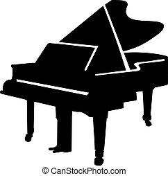 piano, silueta, magnífico