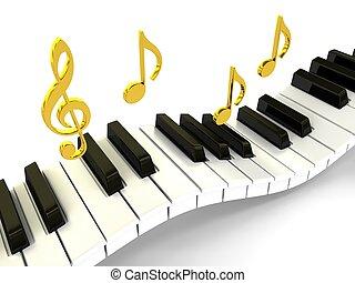 piano, sobre, fundo