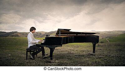 piano, spielt, mann