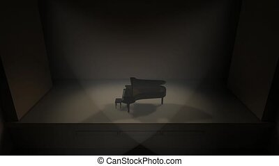 Artist concept piano stage and audience hall.