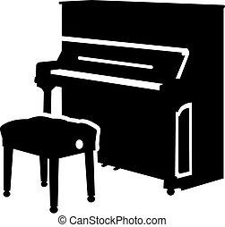 piano, taburete