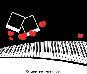 piano template with hearts