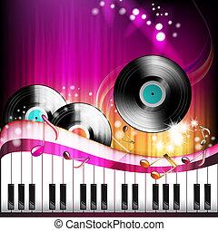 piano toetsen, met, vinylverslag