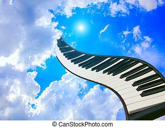 piano toetsen, tegen, bewolkte hemel