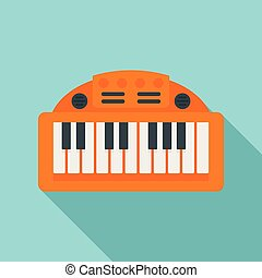 Piano toy icon, flat style