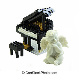 Piano toy made from plastic toy blocks cupid statue