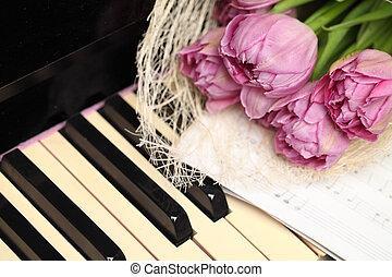 piano, tulipes, fond, fleurs, clés, beau