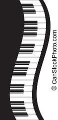 piano, v, ondulé, frontière