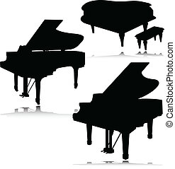 piano, vecteur, silhouettes