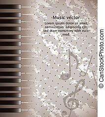 piano vector - brown grunge piano with space for copy....