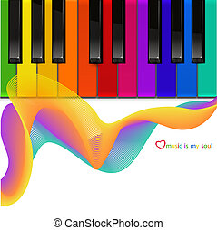 piano, vetorial, coloridos