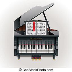 piano, vetorial, grandioso, ícone, xxl