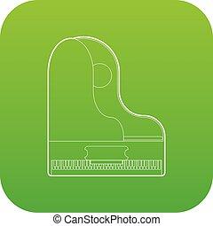 piano, vetorial, verde, grandioso, ícone