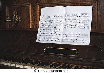 piano, vieux, notes