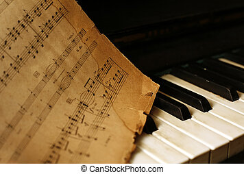 piano, vieux, notes
