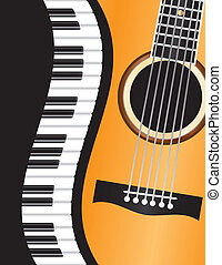 Piano Keyboards Wavy Border with Acoustic Guitar Closeup Background Illustration