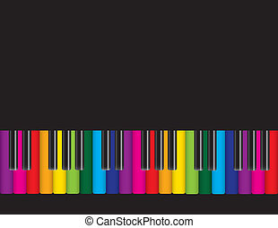 Piano with Colorful Keyboard Illustration