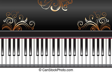 piano with swirls