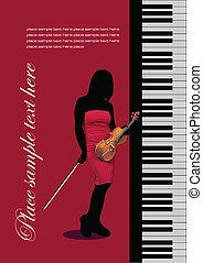 Piano with violin. Vector colored