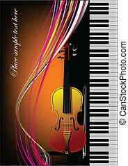 Piano with violin. Vector colored illustration. Cover for book