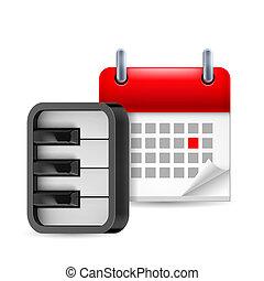 pianoforte, calendario, icona