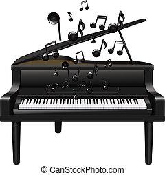 pianoforte, con, melodia