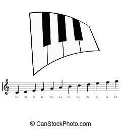 pianoforte, con, note musica, icona, illustrazione